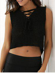 Criss-Cross Asymmetric Knitted Crop Top -