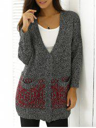 Heathered Patterned Jacquard Long Knitwear - RED