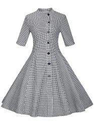 Vintage Single-Breasted Gird Pin Up Dress