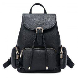 Pocket Flap Drawstring Backpack - BLACK