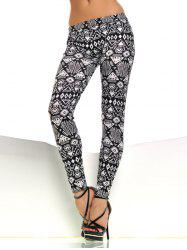 Patterned Skinny Pants - WHITE AND BLACK