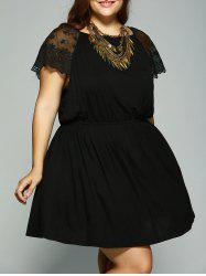 Plus Size Lace Patchwork Tie Back Dress -