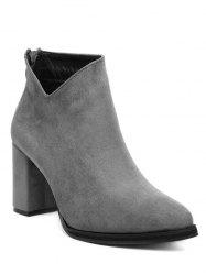 Chunky Heel Pointed Toe Flock Ankle Boots