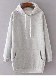 Long Sleeve Solid Color Drawstring Hoodie - LIGHT GRAY M