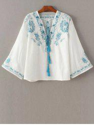 V Neck Retro Embroidered Blouse -