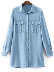 Shirt Neck Long Sleeve Denim Shirt Dress -