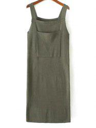 Front Pocket Back Slit Sleeveless Jumper Dress - ARMY GREEN