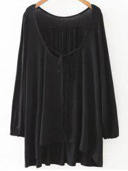 Plunging Neck Loose Fitting Long Sleeve T-Shirt -