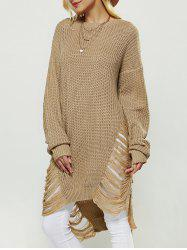 Openwork Asymmetrical Sweater - EARTHY