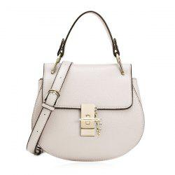 Round Shape Metallic Twist Lock Crossbody Bag -