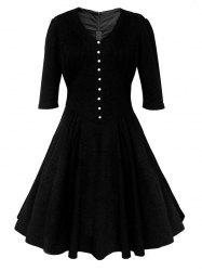 Buttoned Half Sleeves Ruched Flare Dress