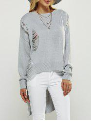 Asymmetrical Ripped Sweater - LIGHT GRAY