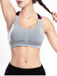 Wire Free Criss Cross Sports Yoga Push Up Bra - GRAY