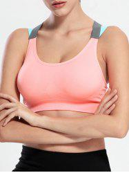 Wire Free Criss Cross Sports Yoga Push Up Bra - LIGHT PINK