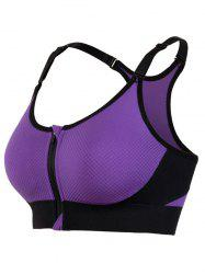 Cut Out Padded Push Up Strappy Racerback Sports Bra - PURPLE
