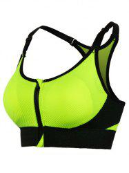 Cut Out Padded Push Up Strappy Racerback Sports Bra - GREEN