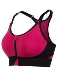 Cut Out Padded Push Up Strappy Racerback Sports Bra - ROSE MADDER L
