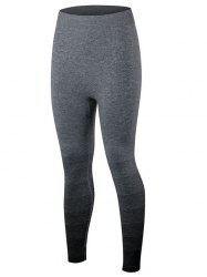 Gradient Color Sport Running Leggings - BLACK