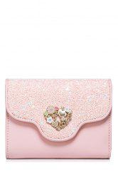 Floral Heart Sequins Small Wallet -
