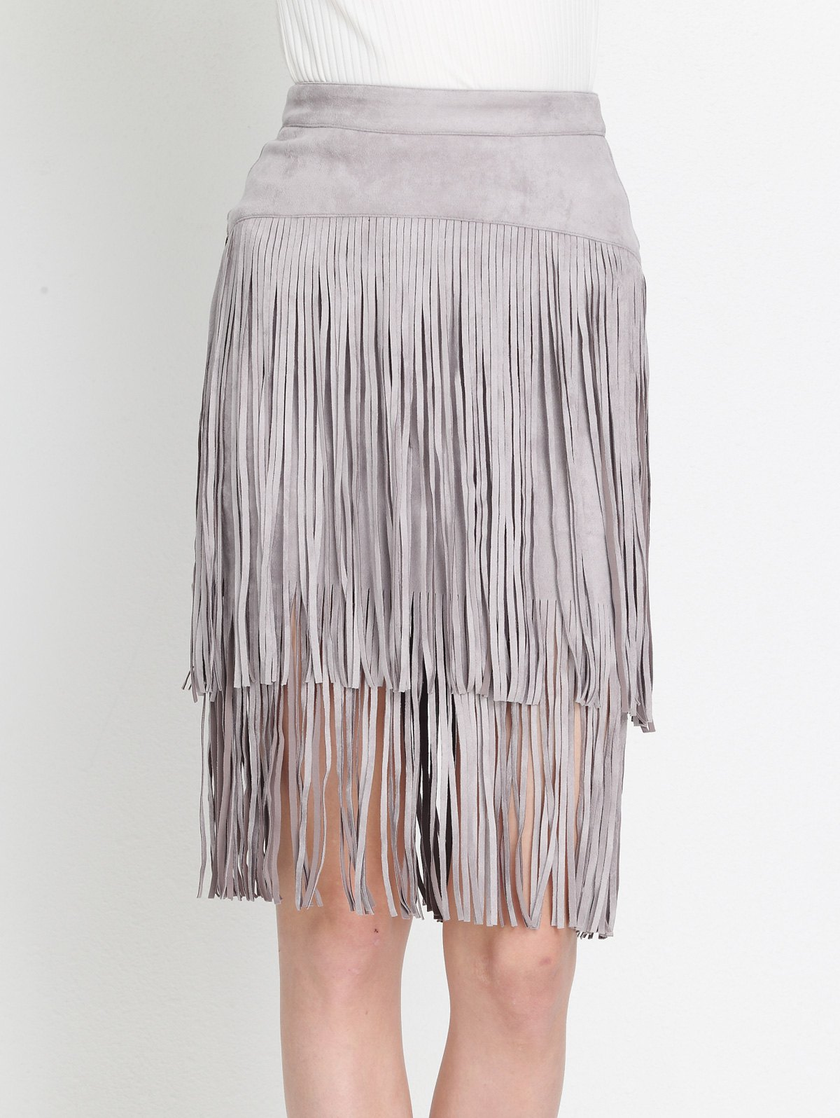 Hot High Waist Tiered Fringed Suede Skirt