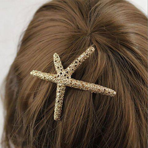 Best Retro Style Women's Rhinestone Embellished Starfish Shape Hairpin