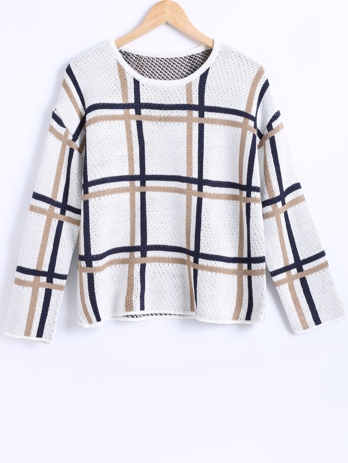 Latest Plaid Pattern Loose Fitting Knitted Pullover