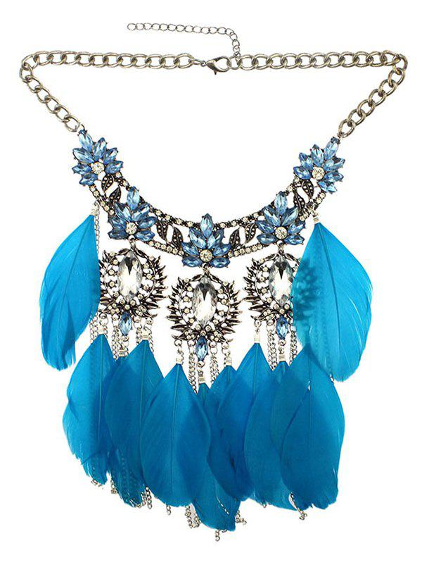 Online Rhinestone Faux Crystal Feather Leaf Necklace