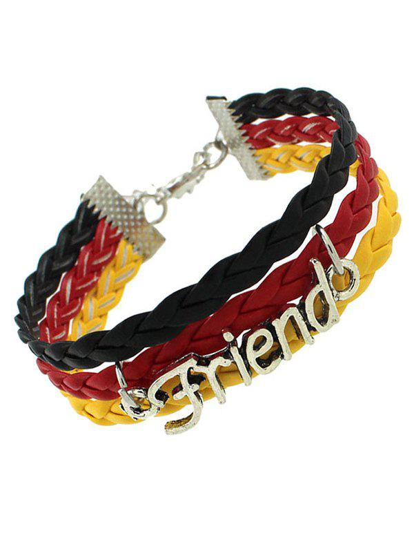 Faux Leather Woven Flag Friend BraceletJEWELRY<br><br>Color: BLACK; Item Type: Chain &amp; Link Bracelet; Gender: For Women; Chain Type: Link Chain; Style: Trendy; Shape/Pattern: Letter; Weight: 0.060kg; Package Contents: 1 x Bracelet;