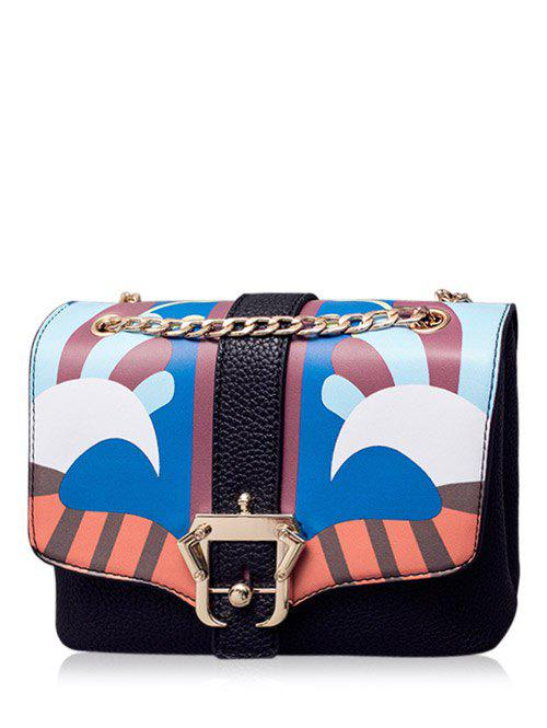 Affordable Magnetic Closure Striped Pattern Chain Crossbody Bag