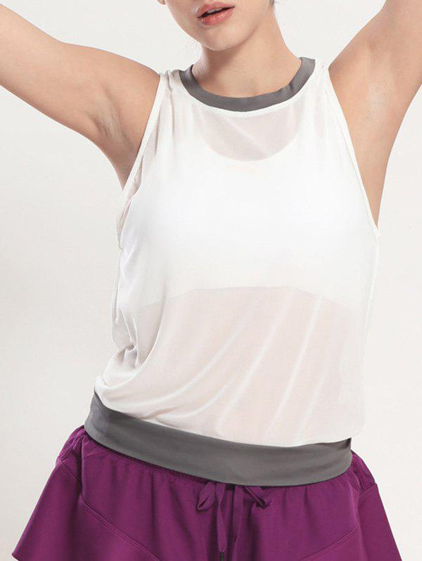 Latest See Through Blouson Gym Running Tank Top