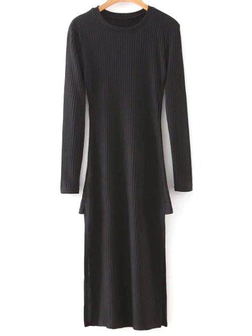 Chic Long Sleeve Side Slit Midi Knit Dress
