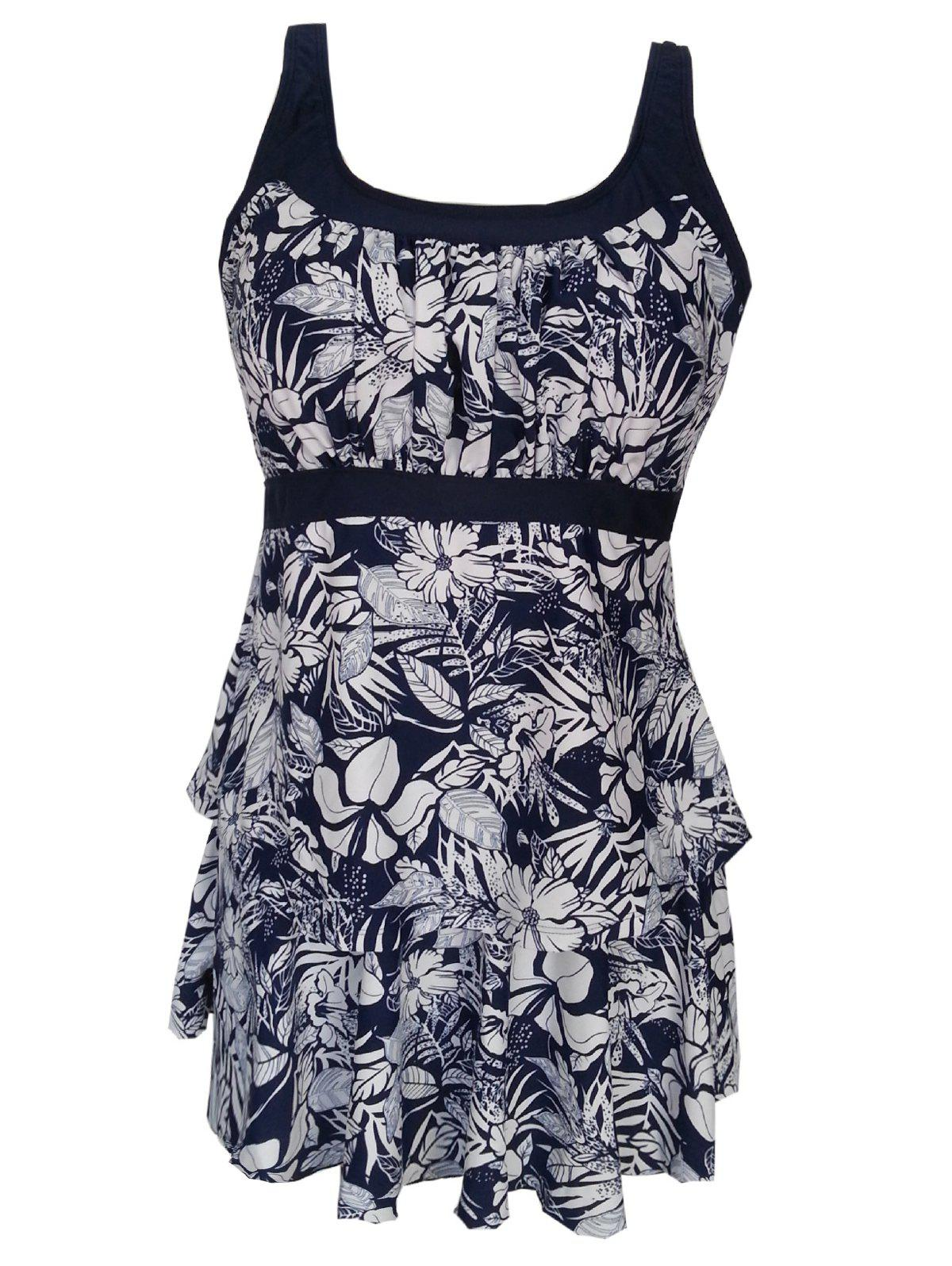 Chic Plus Size Floral Printed Tankini Swimsuit
