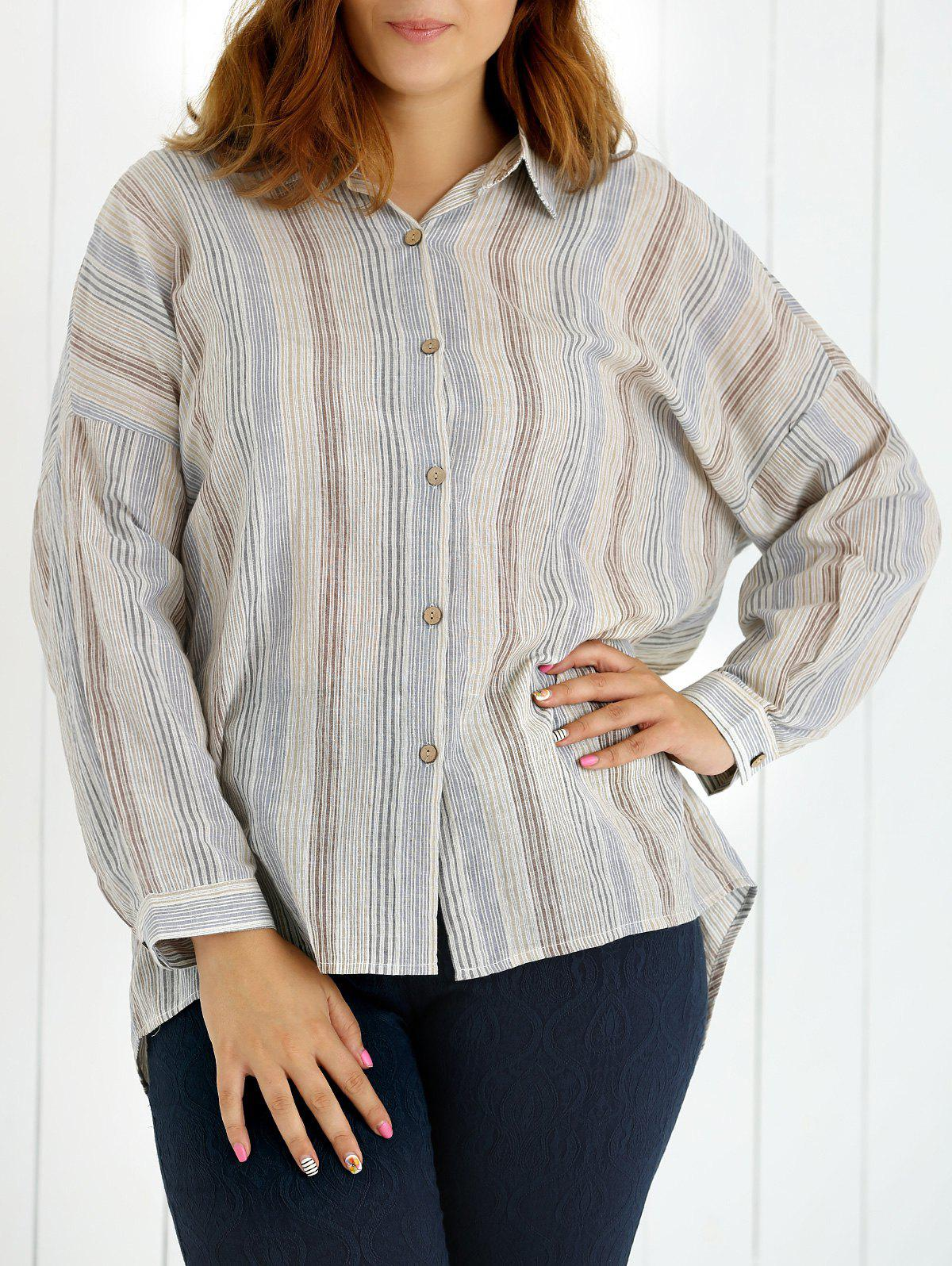 Chic Oversized Colored Striped Long Sleeves Shirt