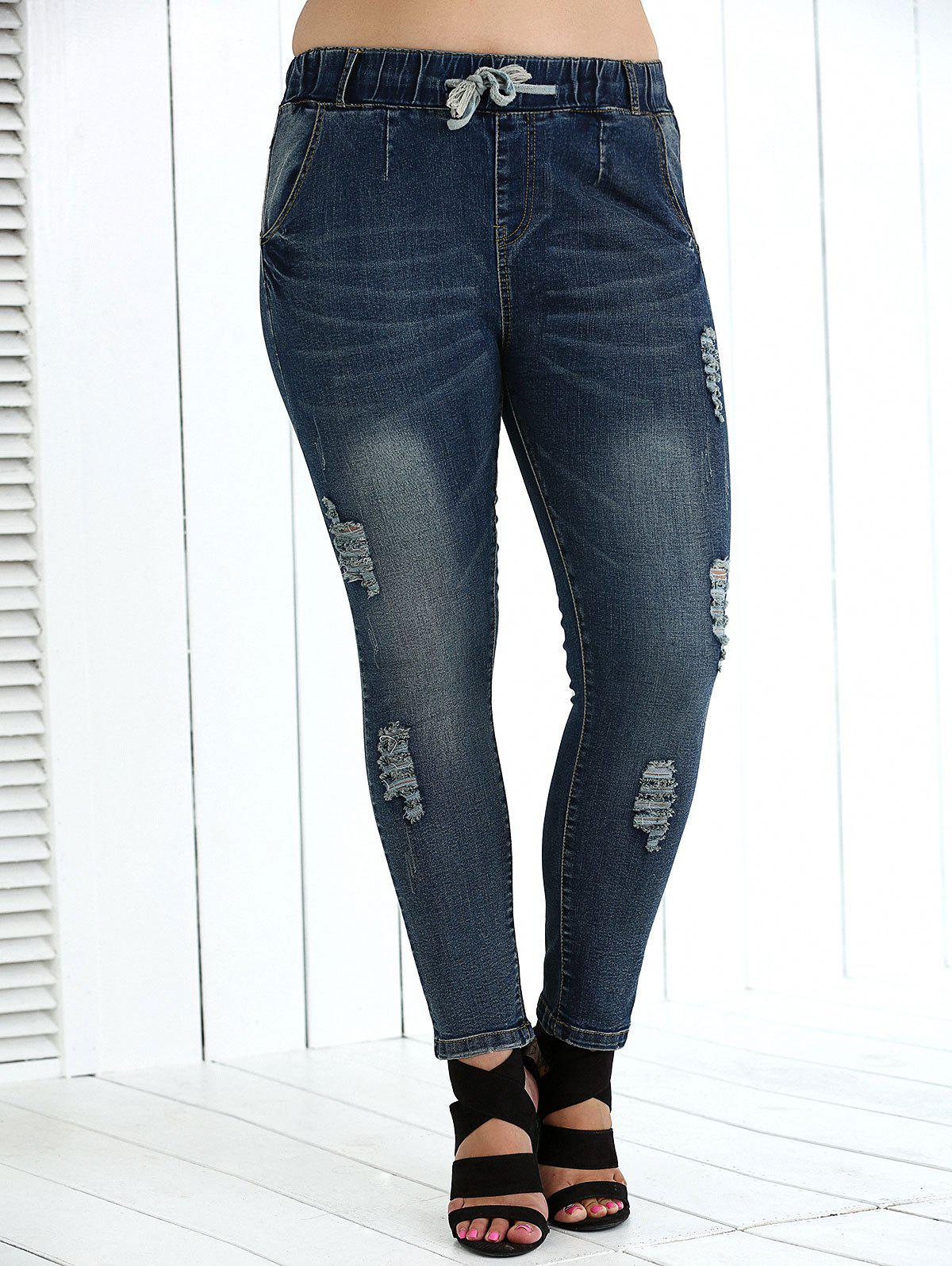 Trendy Drawstring Plus Size High Waist Distressed Jeans