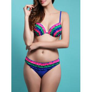 Rainbow Colorful Flounced String Bikini