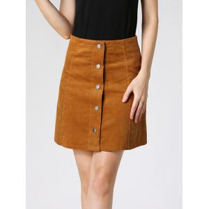 High Waist Buttoned Corduroy Skirt - Camel - Xl