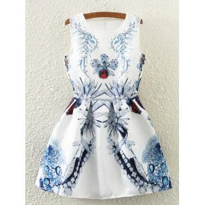 Retro Leaf Floral Print Sleeveless Fit and Flare Dress