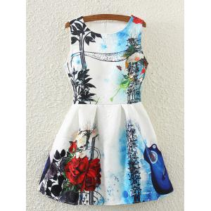 Retro Guitar Rose Print Sleeveless Fit and Flare Skater Dress