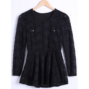 Waisted Guipure Openwork Lace Blouse