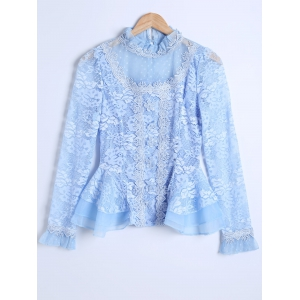 Guipure See-Through Lace Spliced Blouse - Azure - 2xl