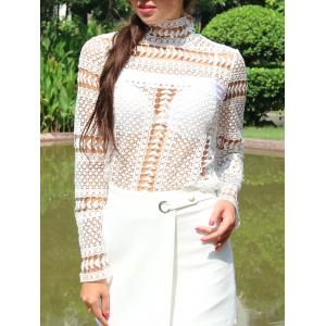 Lace Crochet Embroidery Blouse - White - Xl