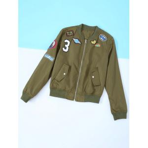 Appliques Long Sleeve Bomber Jacket - Army Green - S