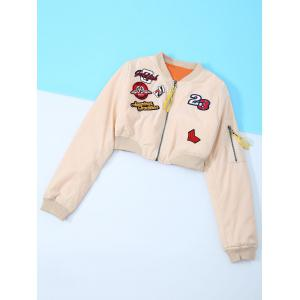 Appliques Embroidery Long Sleeve Jacket - Nude - M