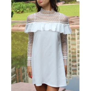 Lace Yoke and Sleeves Shift Dress - White - S