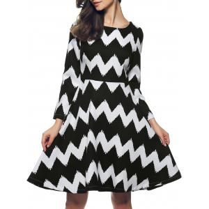Zig Zag Color Block Zippered Dress - White And Black - S