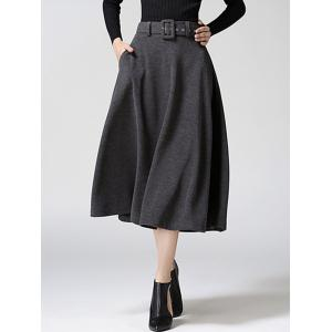 High Waist Pure Color Tweed Midi Skirt