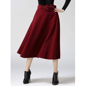 High Waist Pure Color Tweed Midi Skirt - Wine Red - Xl
