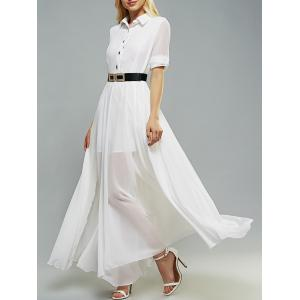 Belted Swing Shirt Collar 3/4 Sleeve Maxi Shirt Dress
