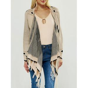 Fringed Asymmetric Collarless Long Sleeve Cardigan - Apricot - One Size