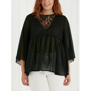 Plus Size Lace Spliced See-Through Blouse - Black - Xl